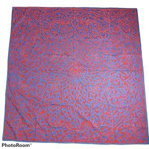 Table cover handmade flocked velvet NWOT Navy/Red